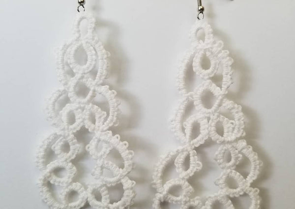 Hand-Tatted White Lace Earrings - Avery + Emory Designs