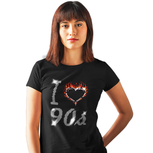 I LOVE 90s NINETIES MUSIC Crystal T Shirt With Rhinestone Design any size