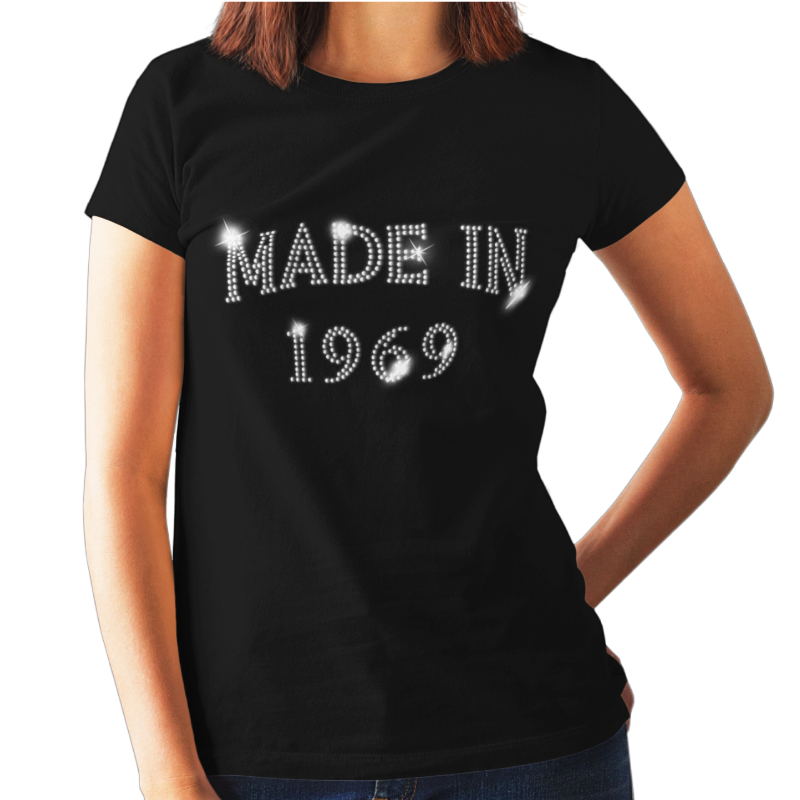 Made In 1969 50th Birthday Crystal Rhinestone Ladies T Shirt Or Vest