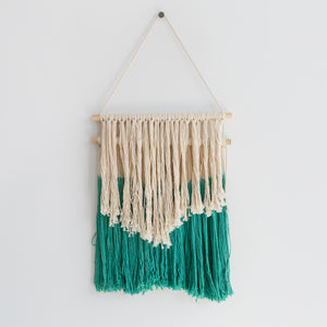 Handmade Macrame Wall Hanging (Green/White)