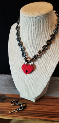 Black 10mm Hematite Ring Collar w/Red Heart Lock