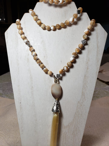 Hand Knotted Natural Mother of Pearl Mala w/Banded Agate Guru bead
