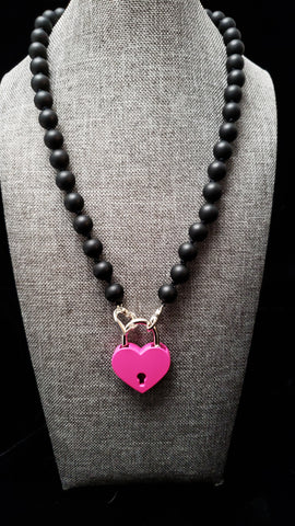 Matte Black Onyx w/Pink Lock Collar