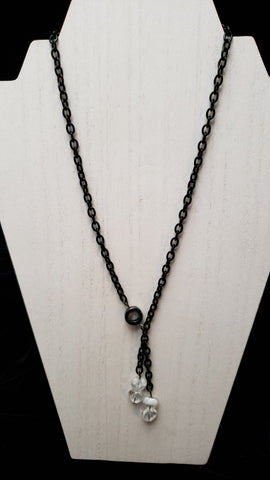 Stainless Steel Chain w/Hematite O-ring & Czech Hearts