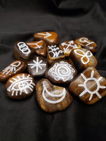 Golden Tiger Eye Witches Runes