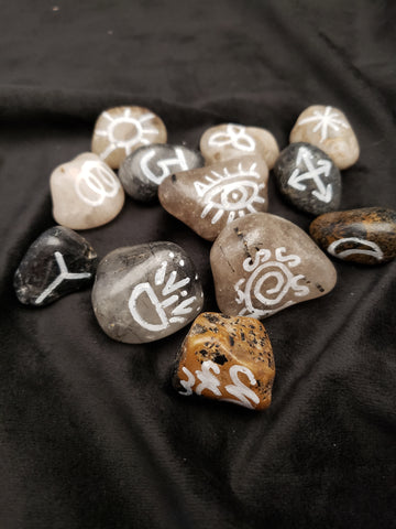 Rutilated & Tourmalated Quartz Witches Runes