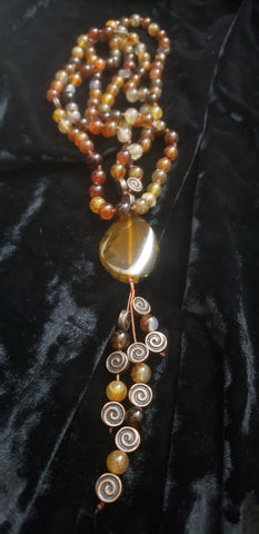 Natural Dragon Vein Agate Mala