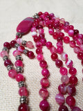 Hand Knotted Pink Banded Agate Mala