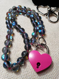 Mermaid Glass Collar w/ Rose Heart Lock and Matching Earrings