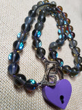 Mermaid Glass Collar w/ Purple Heart Lock and Matching Earrings
