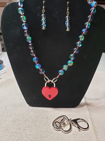 Mermaid Glass Collar w/ Red Heart Lock and Matching Earrings