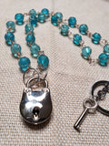 Hand Wrapped Blue Glass Collar w/ Silver Bear Lock & Matching Earrings
