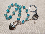 Hand Wrapped Blue Glass Collar w/ Silver Heart Lock & Matching Earrings