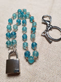 Hand Wrapped Blue Glass Collar w/ Silver Square Lock & Matching Earrings