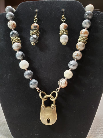 Picasso Marble Collar w/ Bronze Bear Shaped Lock and matching Earrings