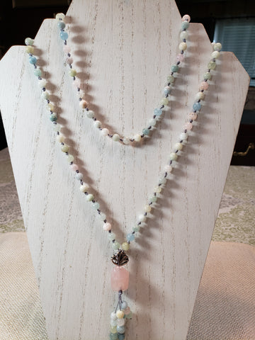 Hand Knotted Morganite Mala w/Lotus Flower