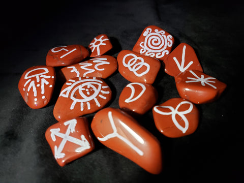 Red Jasper Witches Runes - Semi-Precious Witches Rune Set with Velvet Bag - Set of 13 - Runes - Rune Stones - Divination Tools - Wiccan - Pagan - Spiritual Tools