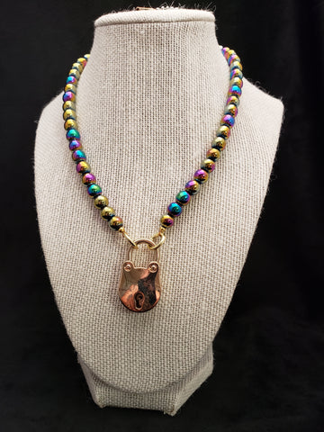 Rainbow Hematite Collar w/ Gold Bear Shaped Lock (8mm)