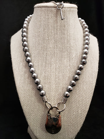 Silver Hematite Collar w/Silver Bear Lock (10mm)