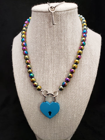Rainbow Hematite Collar w/ Blue Heart Shaped Lock (8mm)