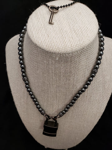 Black Hematite Collar w/Black Square Lock (6mm)