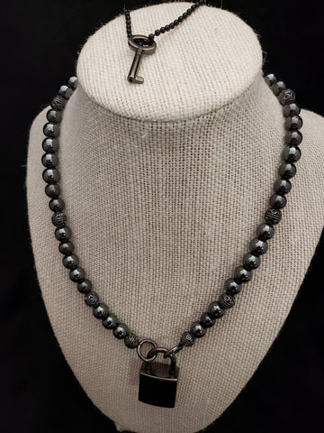 Black Hematite Collar w/Black Square Lock (8mm)