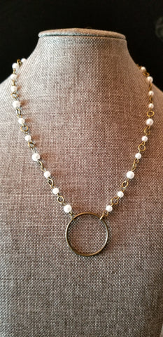 Faux Pearl Antique Brass Collar