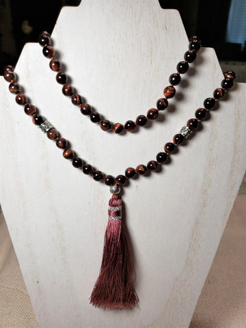 Hand Knotted Red Tigers Eye Mala