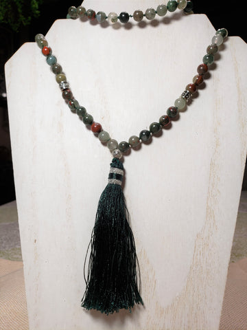 Hand Knotted African Blood Jasper Mala