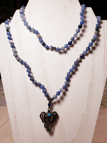 Hand Knotted Sodalite Mala w/ Elephant Diffuser
