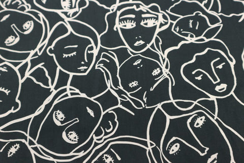 crowded faces fabric