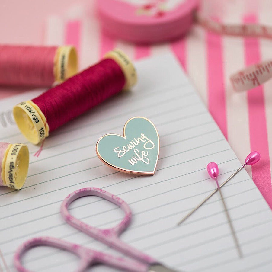 SECONDS: Sewing Wife pin (mint) - Pink Coat Club