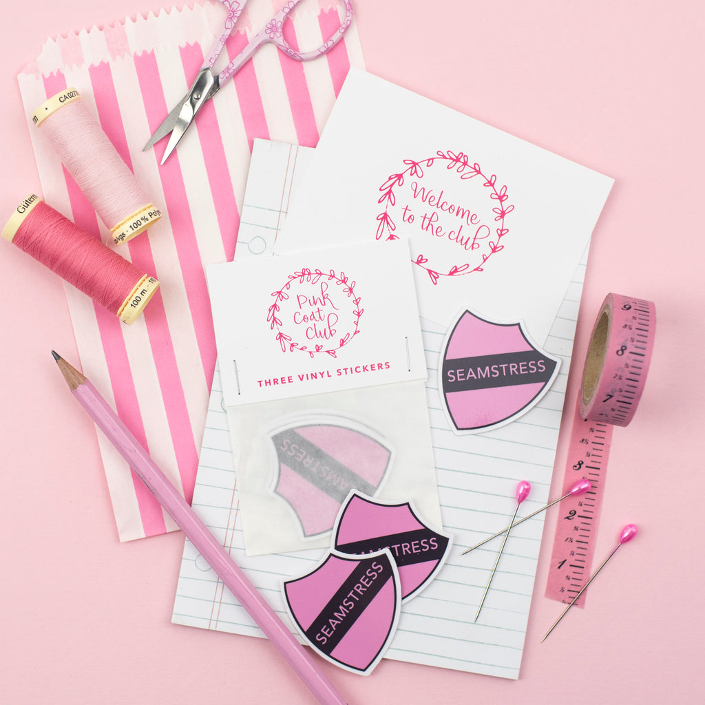 Seamstress stickers (pink) x 3 - Pink Coat Club