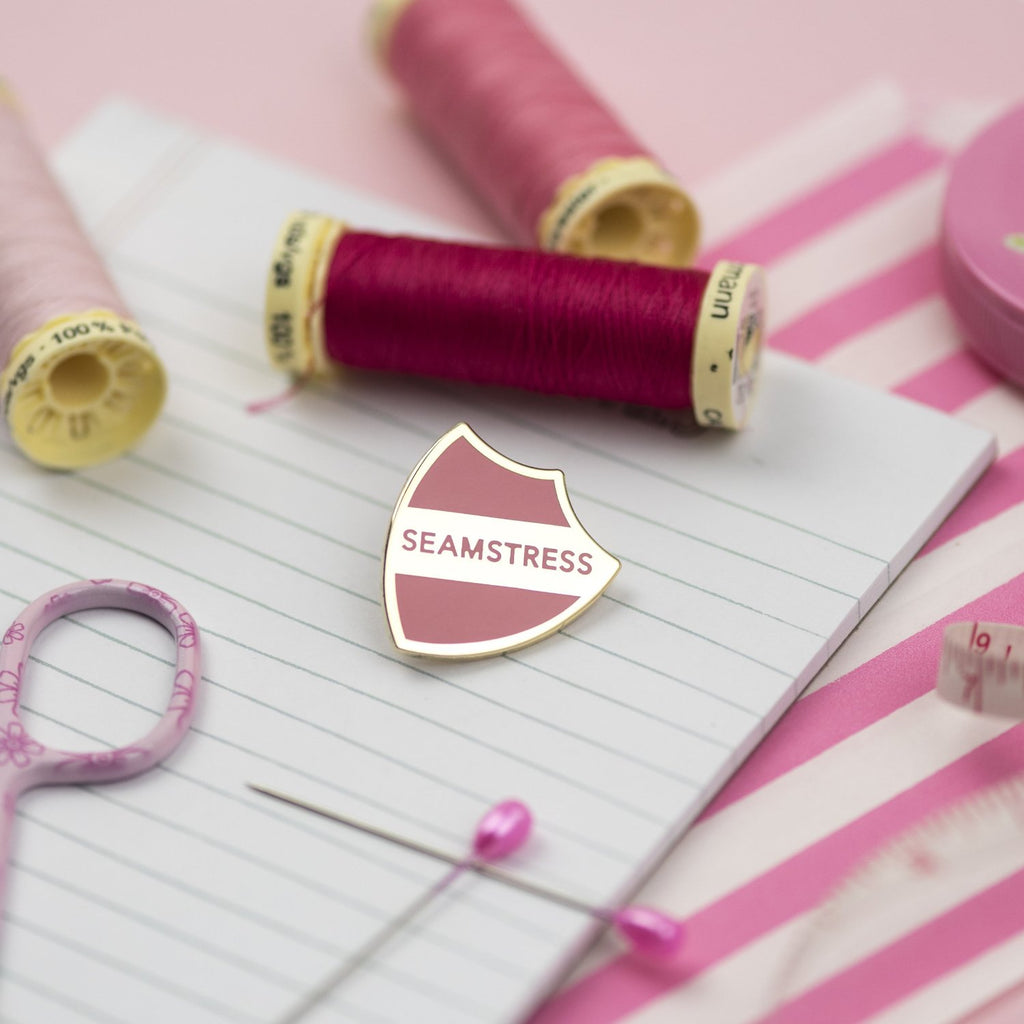 SECONDS: Seamstress pin (pink) - Pink Coat Club