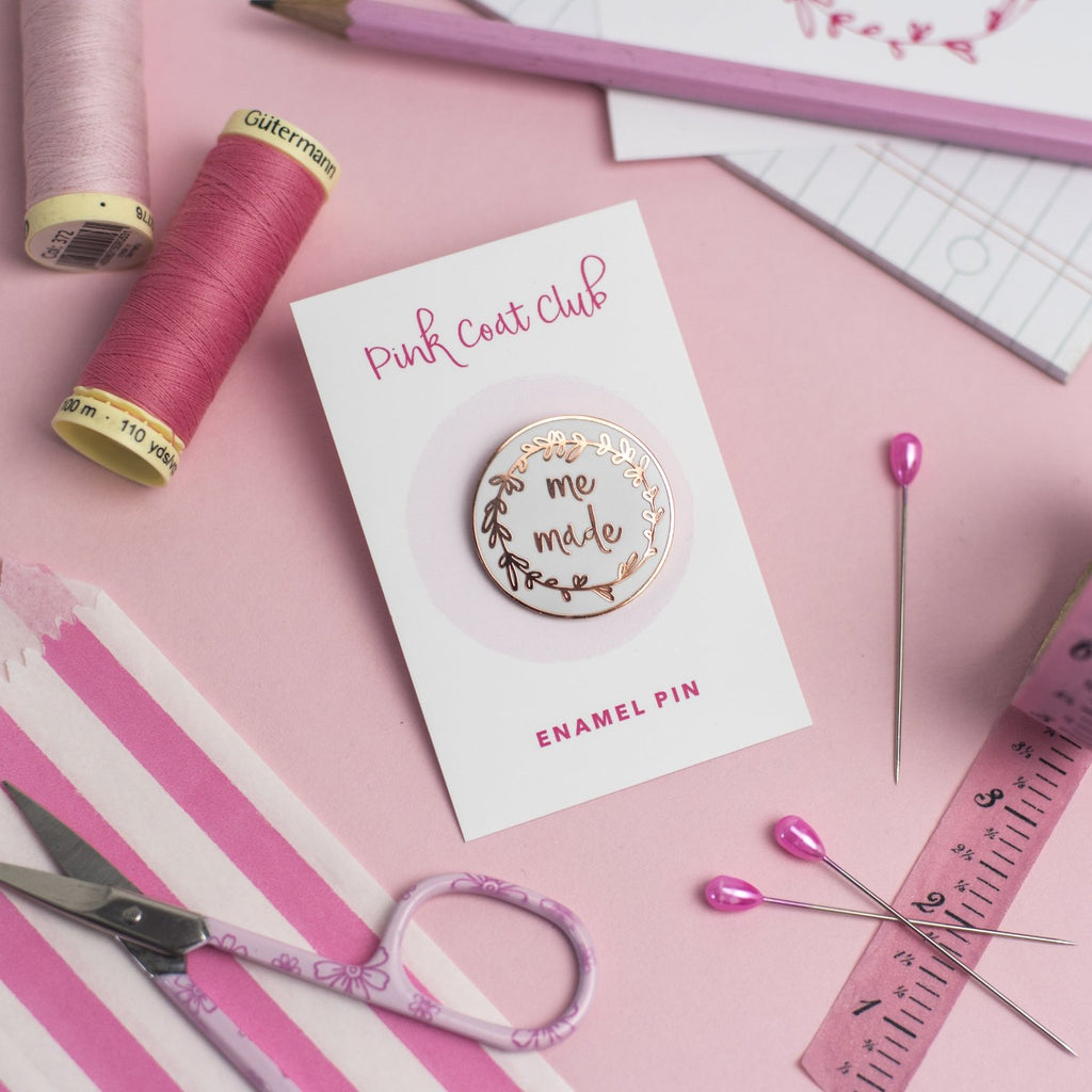 Me Made pin (white) - Pink Coat Club