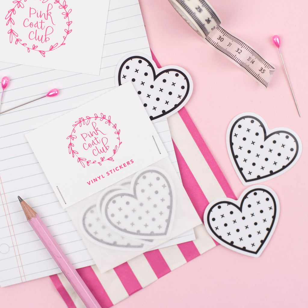 Pattern paper heart stickers - Pink Coat Club