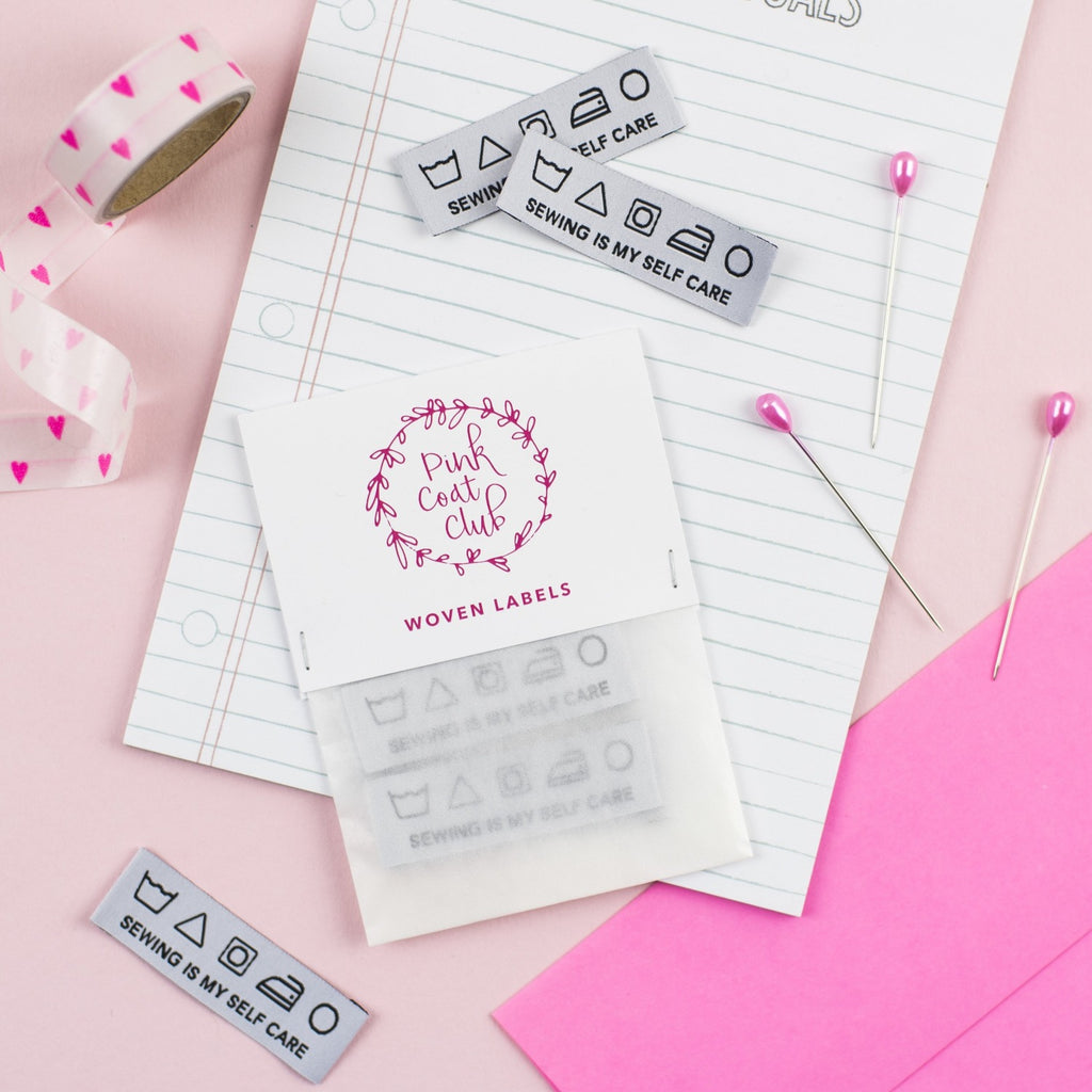 Sewing is My Self Care labels x 6 - Pink Coat Club