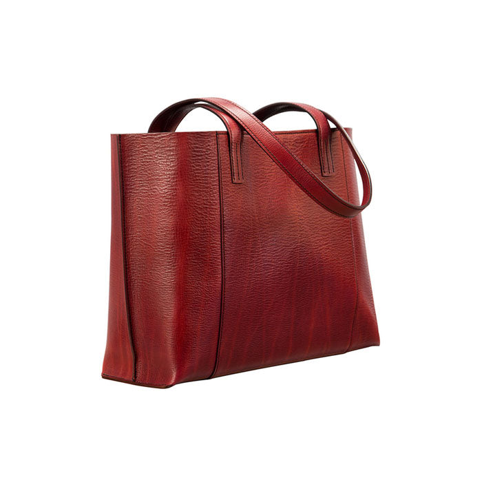 Glaser Designs Ellie Tote. Hand colored Barn Red vegetable tanned leather. Hand painted interior. Custom modular organization. Made to measure, custom size