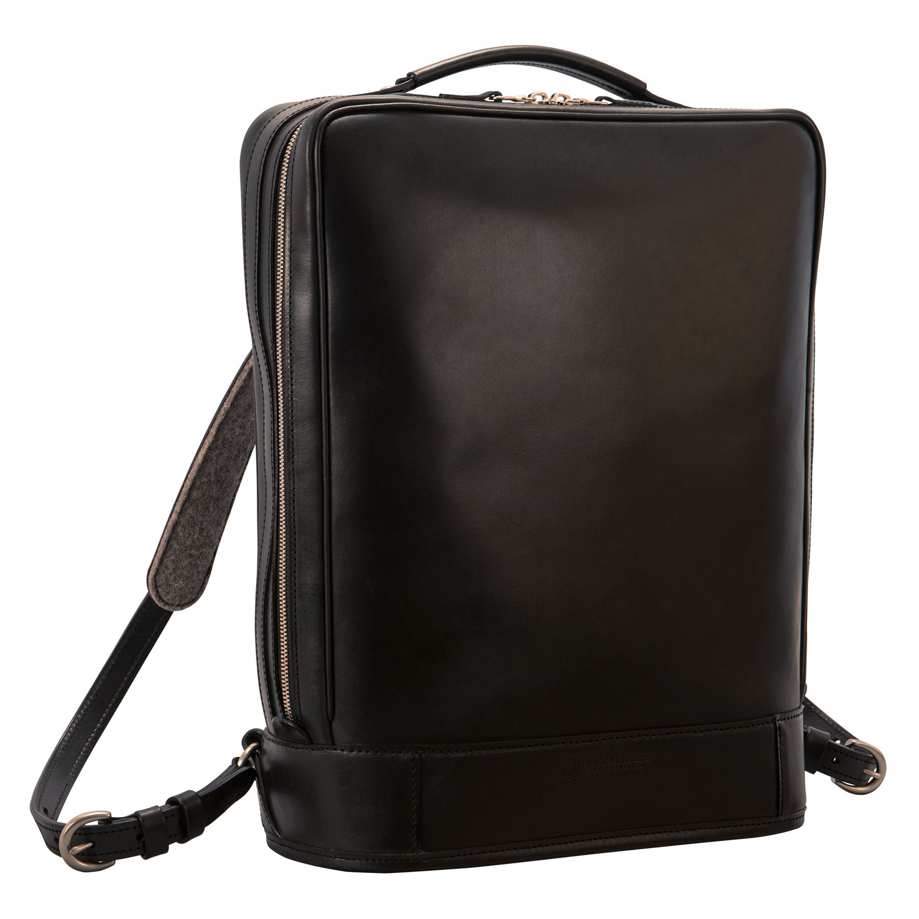 Glaser Designs Business Backpack. Hand burnished Black vegetable tanned leather. Solid brass hardware. Made to measure, custom size.
