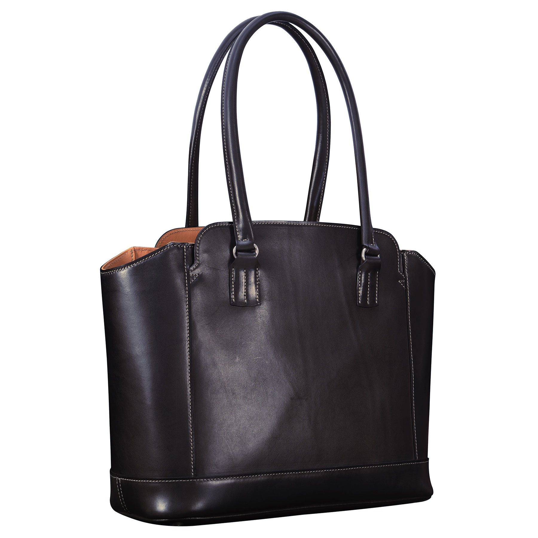 Glaser Designs City Tote with Long Handles in Hand burnished Black vegetable tanned leather. Solid brass hardware. Made to measure, custom sizes.