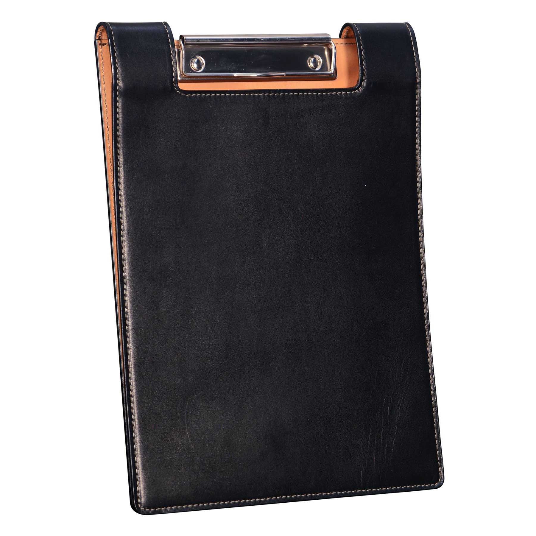 Leather Clip Board: hand-burnished leather