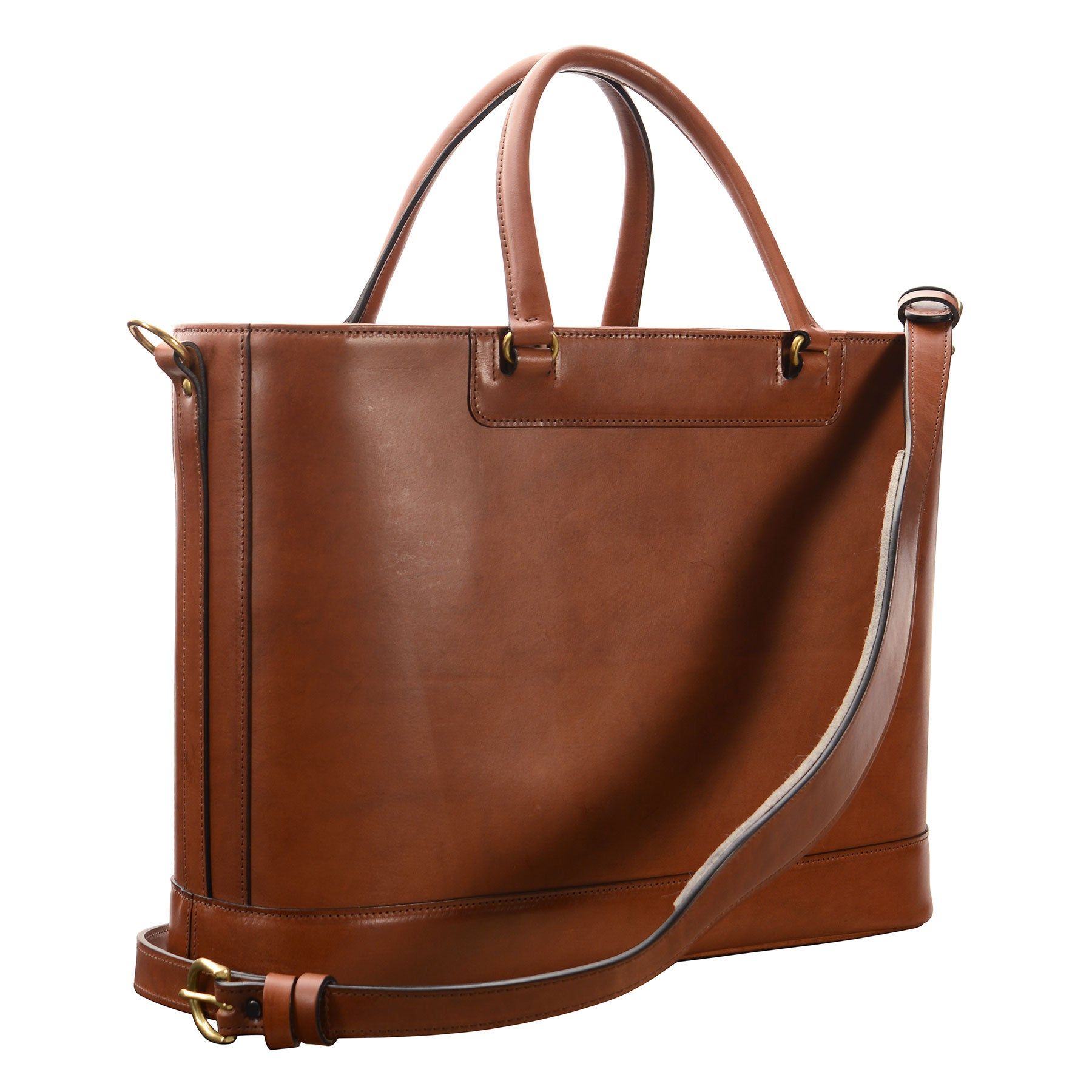 Glaser Designs Business Tote with Handles and Shoulder strap. Hand burnished Espresso vegetable tanned leather. Solid brass hardware. Made to measure, custom sizes.