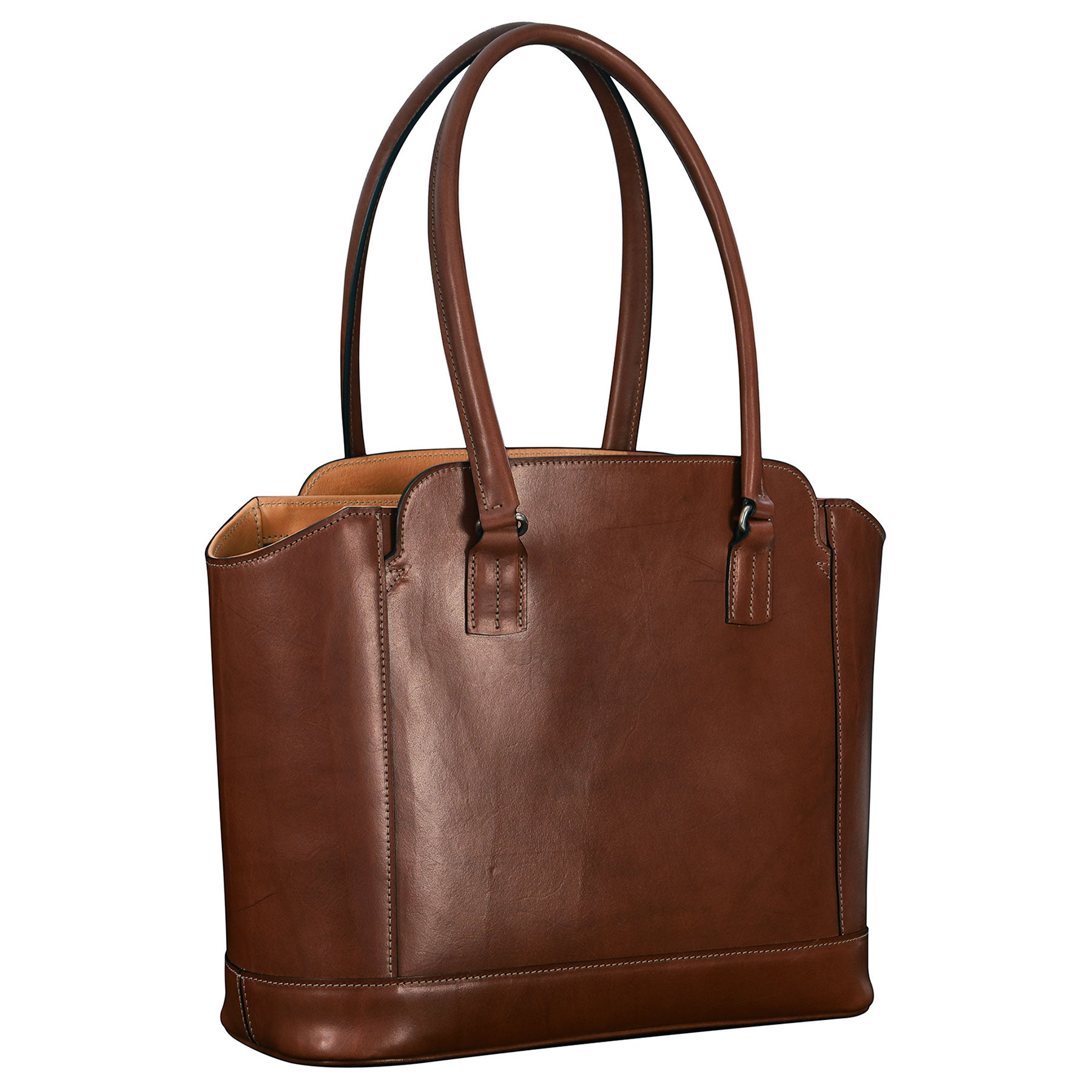 Glaser Designs City Tote with Long Handles in Hand burnished Espresso vegetable tanned leather. Solid brass hardware. Made to measure, custom sizes.