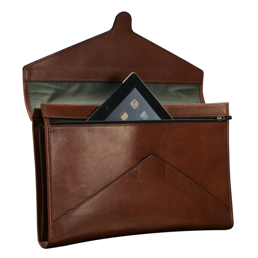 Glaser Designs Flap Folder Holder Portfolio. Hand burnished Espresso vegetable tanned leather. Made to-measure, custom sizes.