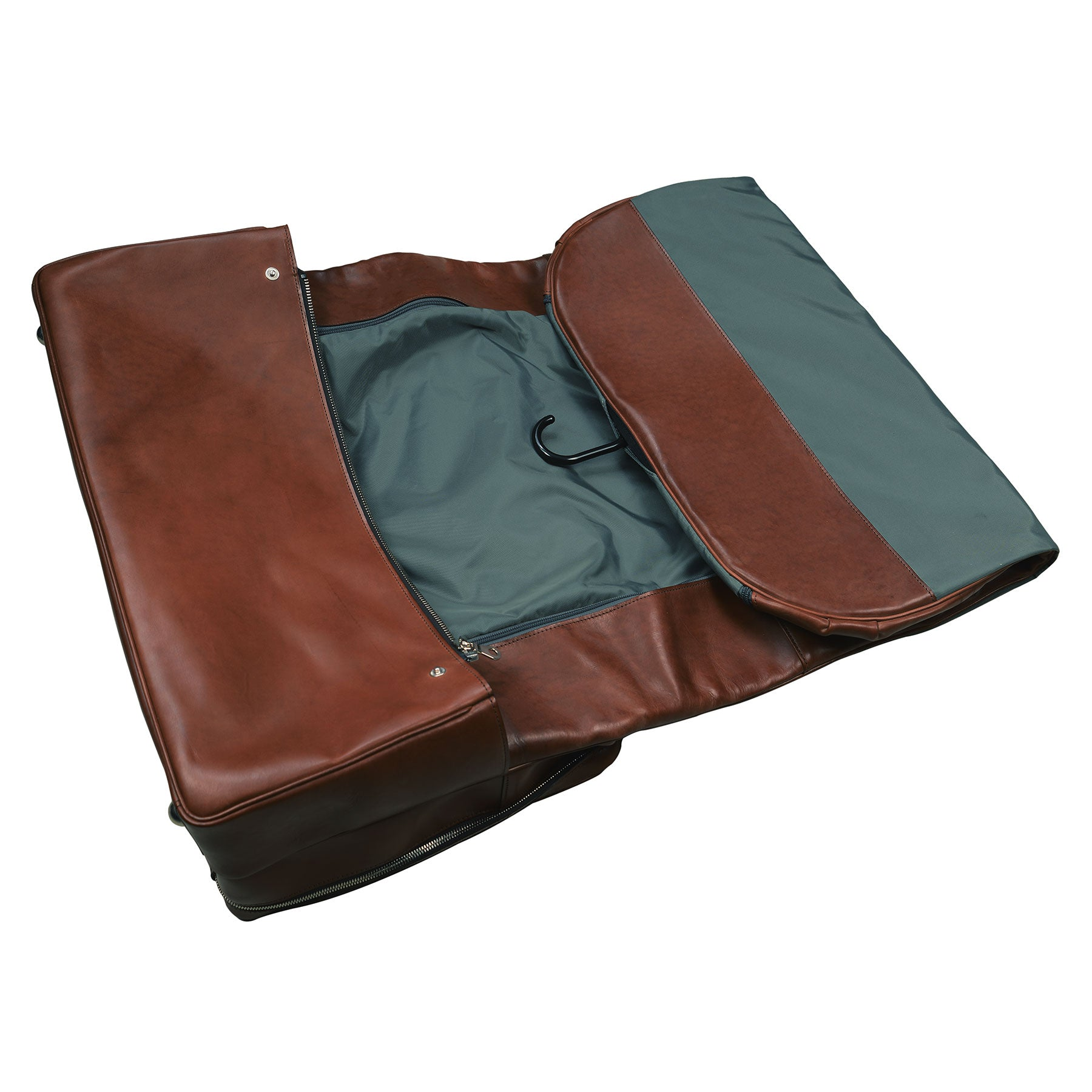 Short Hop Garment Bag: hand-burnished leather