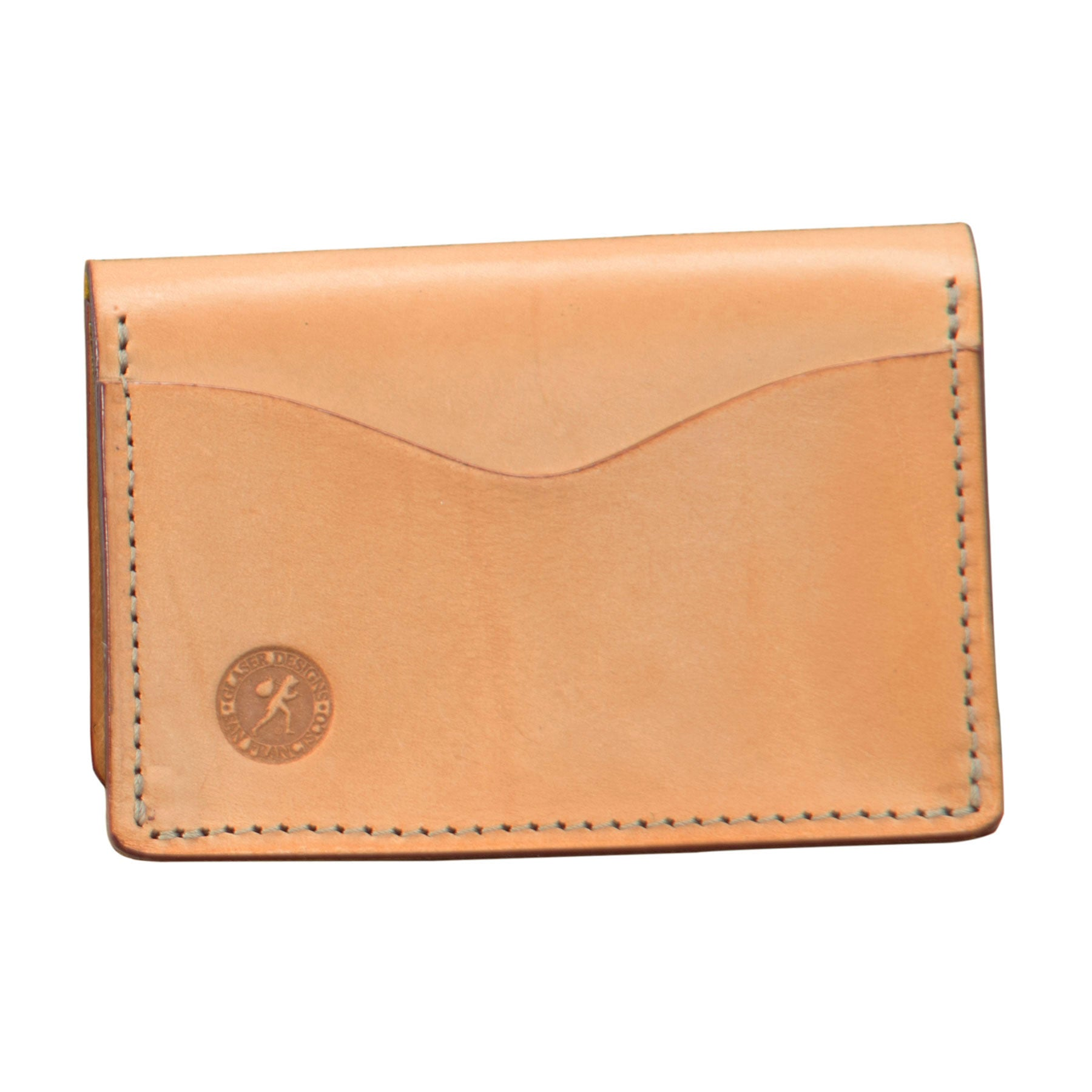 Glaser Designs Five Pocket Card Holder. Hand burnished Natural vegetable tanned leather.
