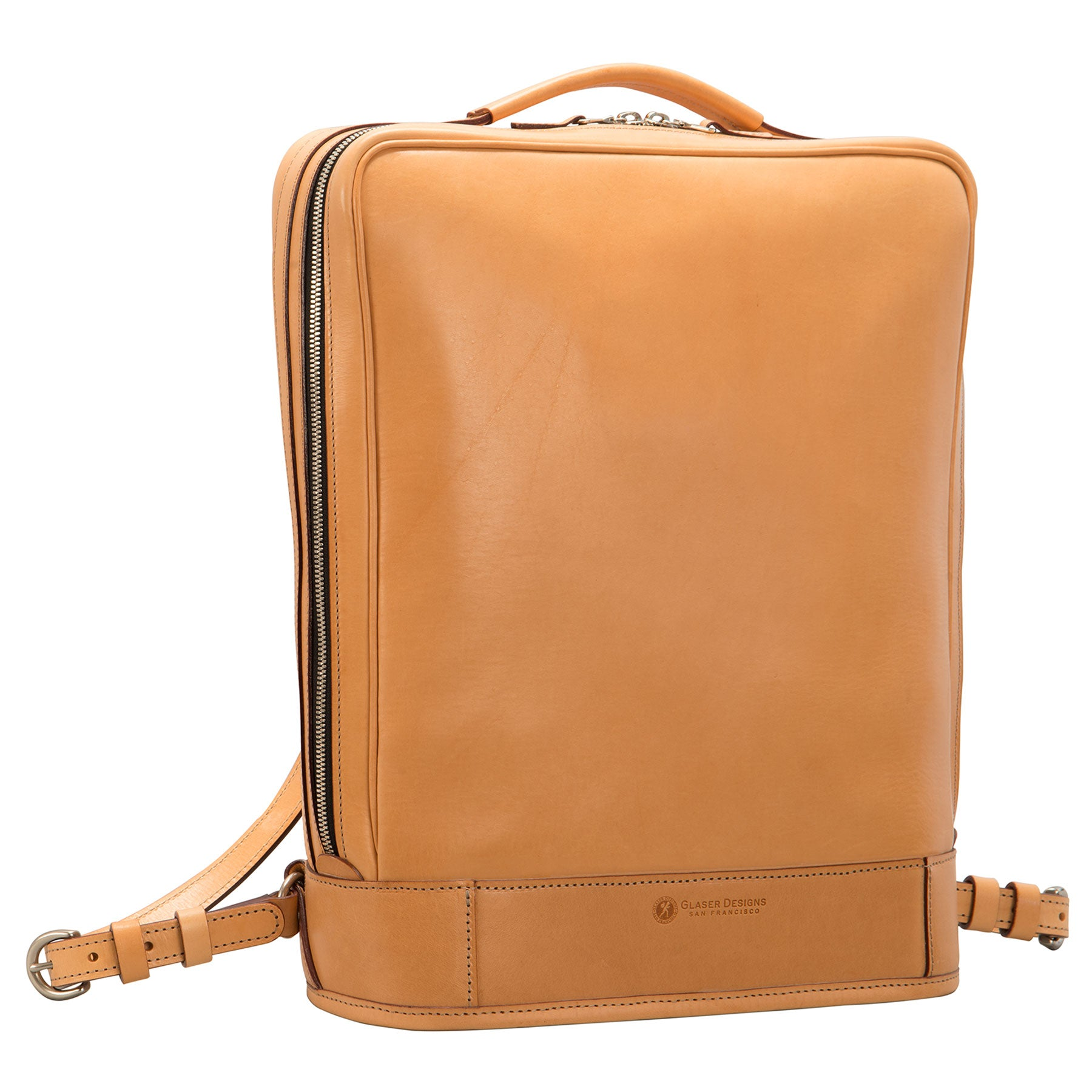 Glaser Designs Business Backpack. Hand burnished Natural vegetable tanned leather. Solid brass hardware. Made to measure, custom size.