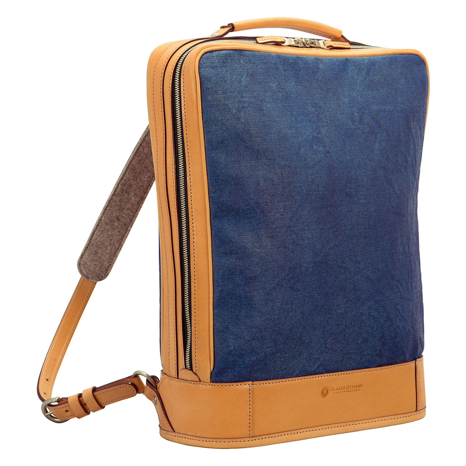 Business Backpack: Hand-Burnished Leather, Hand-Painted Linen