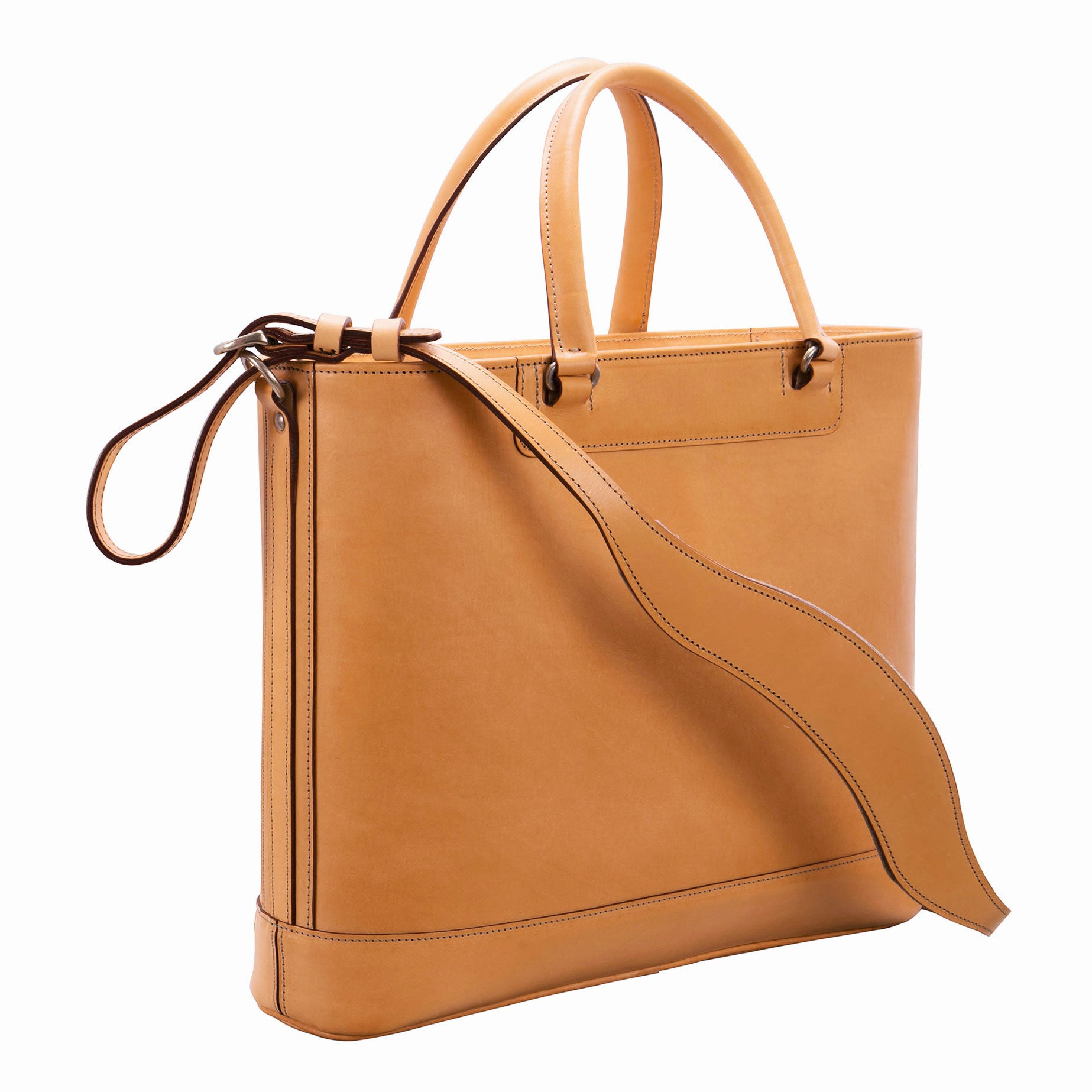 Glaser Designs Business Tote with Handles and Shoulder strap. Hand burnished Natural vegetable tanned leather. Solid brass hardware. Made to measure, custom sizes.