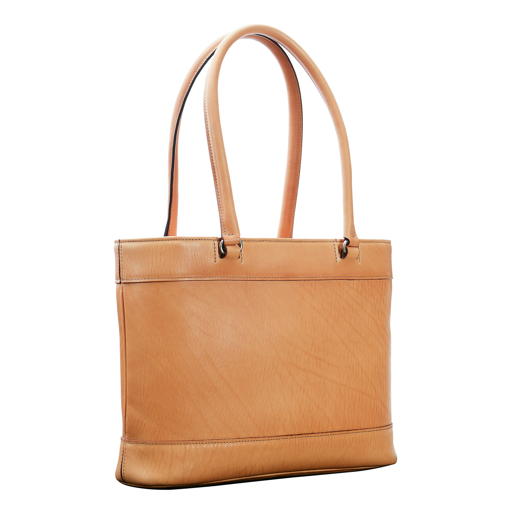 Glaser Designs Business Tote with Long Handles . Hand burnished Natural vegetable tanned leather. Solid brass hardware. Made to measure, custom sizes.